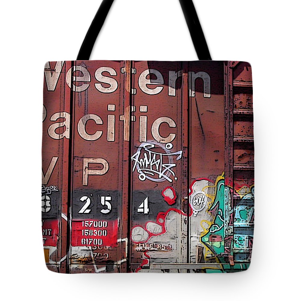 Locomotive Tote Bag featuring the photograph Western Pacific by Anne Cameron Cutri