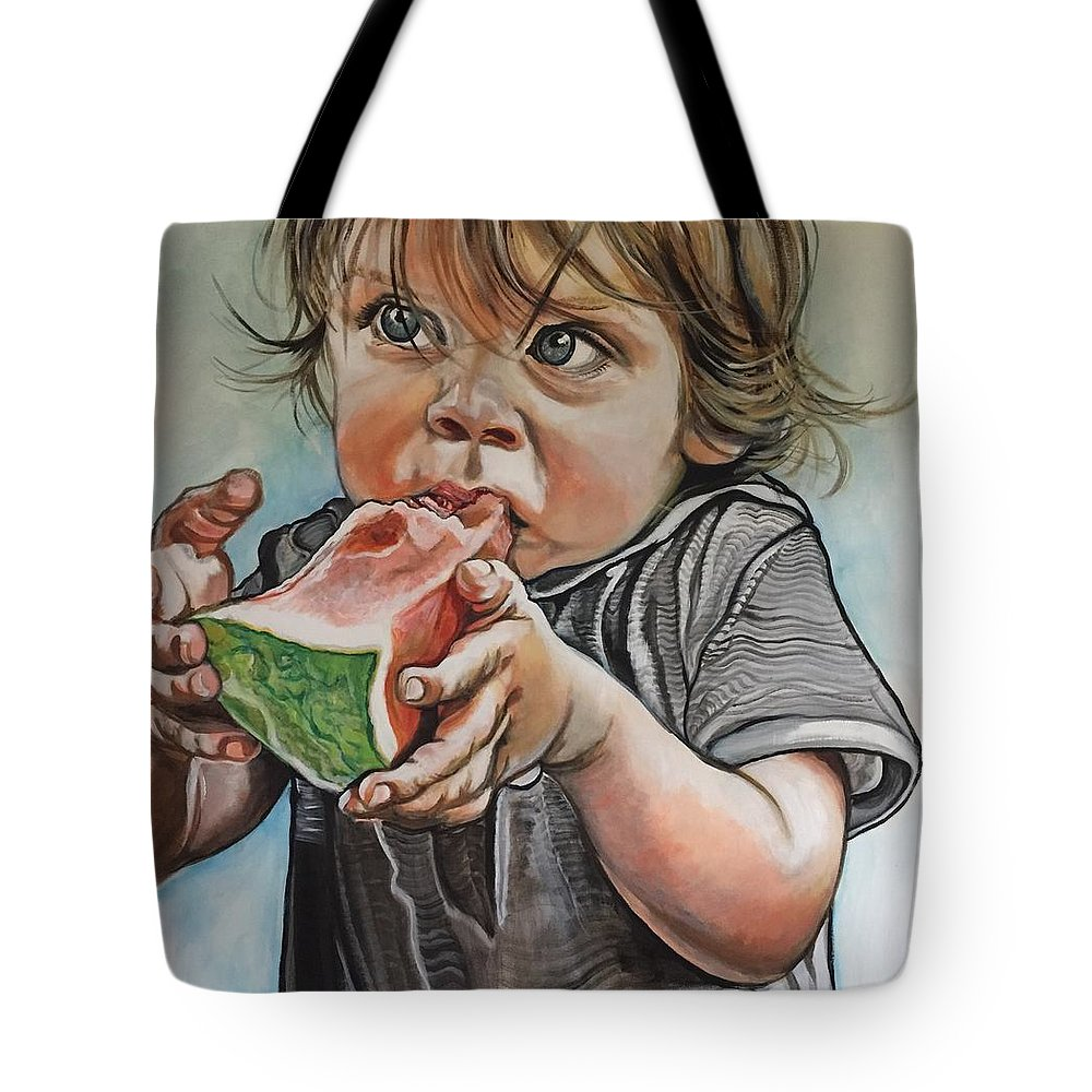 Kid Tote Bag featuring the painting Westie And The Watermelon by Stephanie Come-Ryker