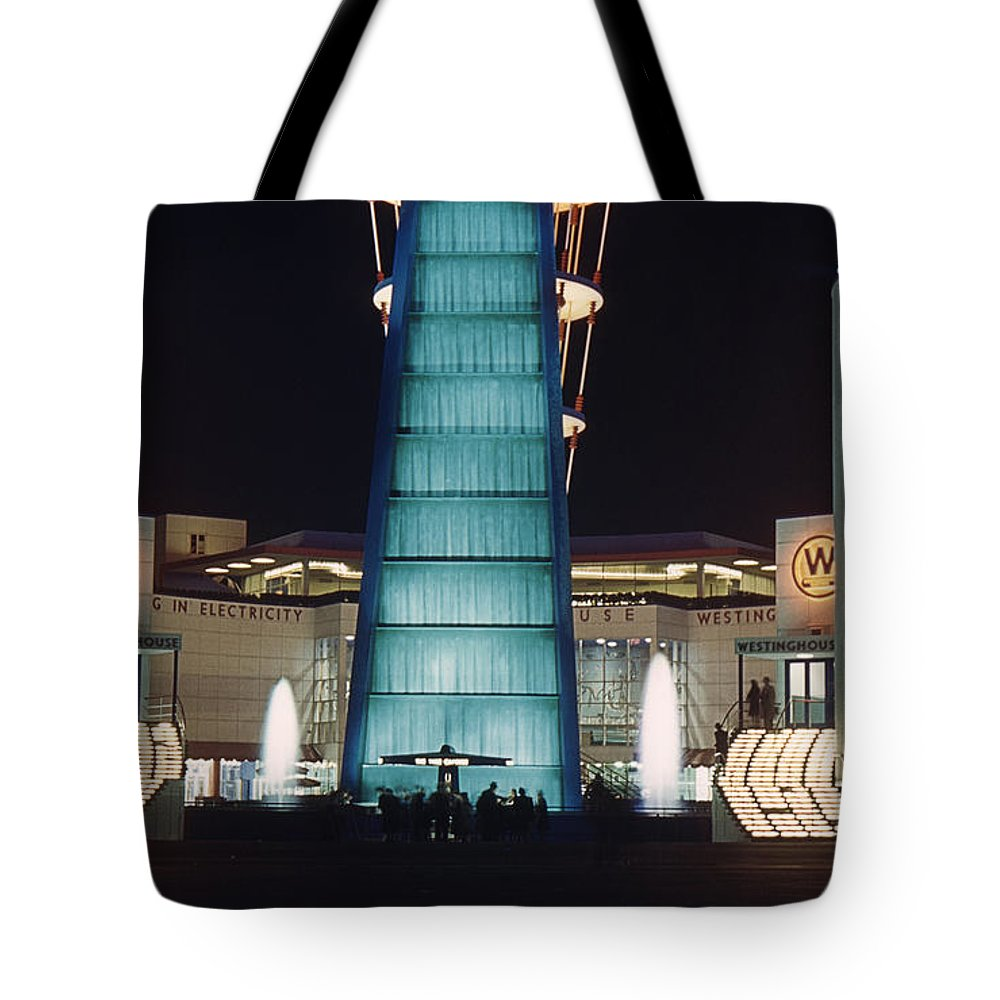 Westinghouse Tote Bag featuring the photograph Westinghouse Pavilion At Night by David Halperin