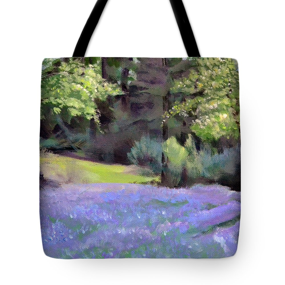 Camas Tote Bag featuring the painting Westley's Meadow by Mary Chant