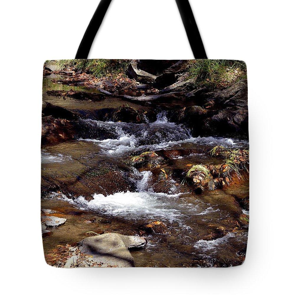 Rocks Tote Bag featuring the photograph Rocks And Water In Autumn by Glenda Ward