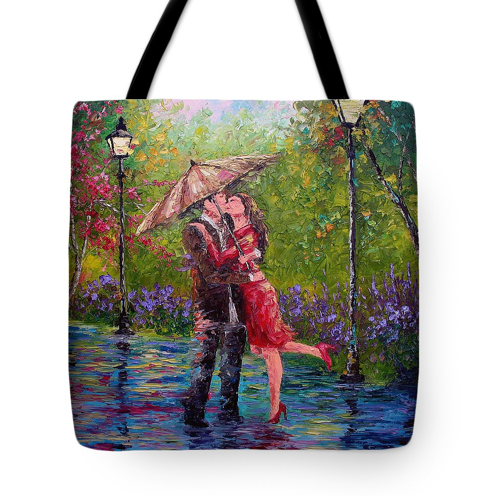 Kiss Tote Bag featuring the painting Wet Kiss by David G Paul