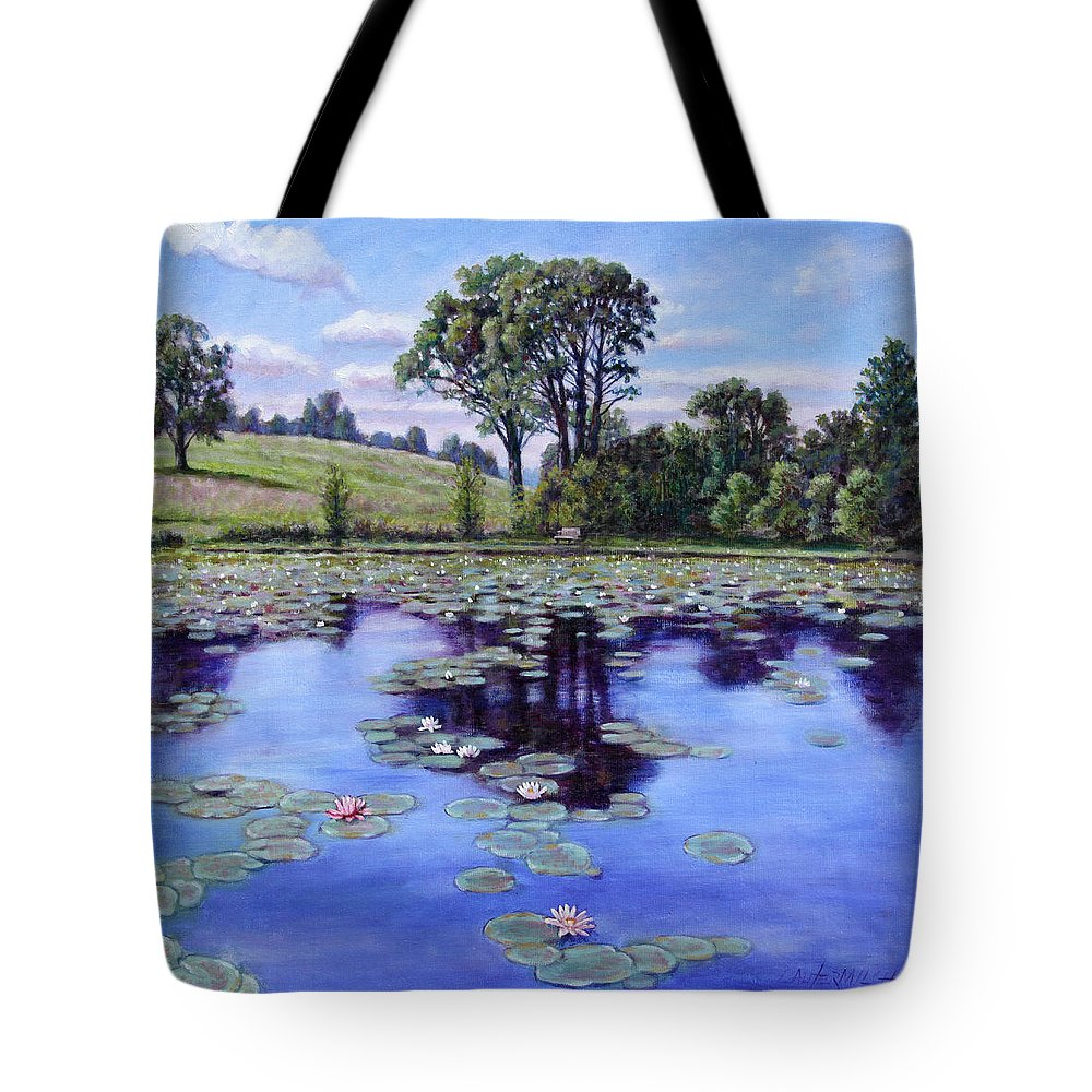 Landscape Tote Bag featuring the painting Wet Land - Shaw Nature Reserve by John Lautermilch