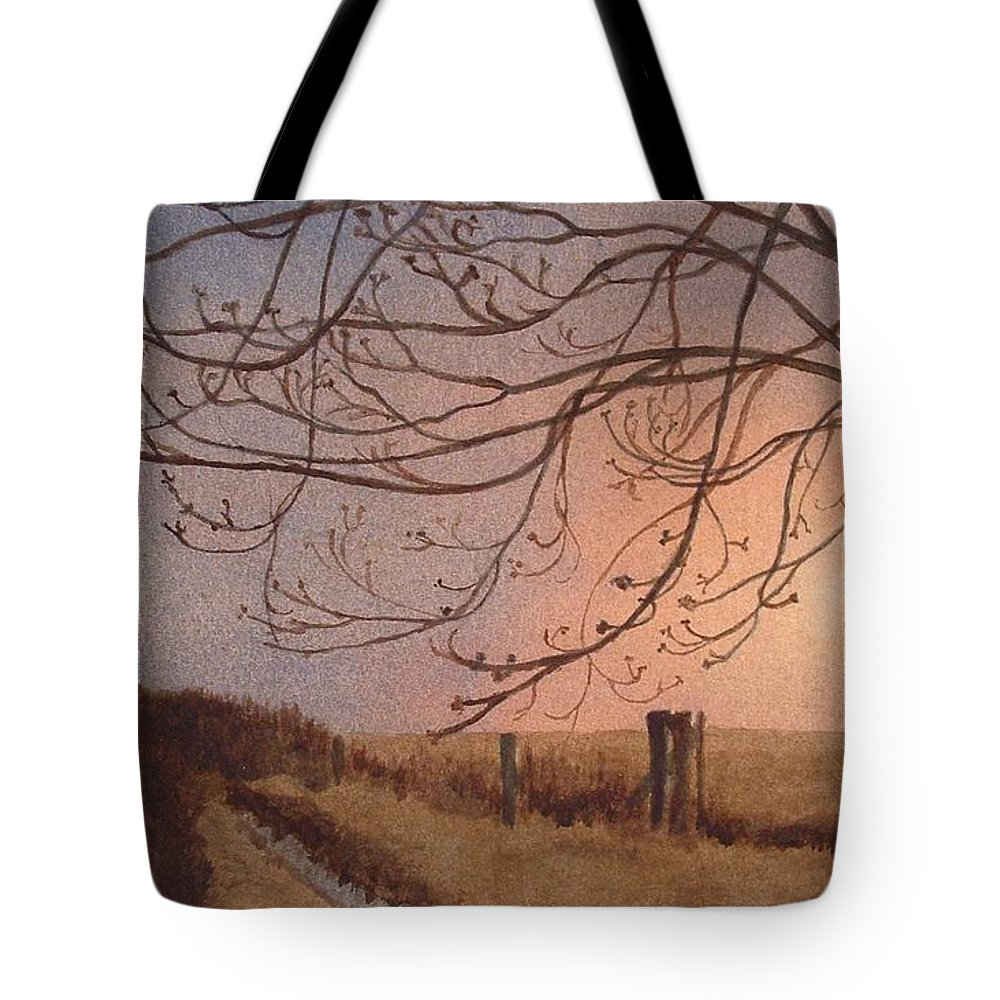 Landscape Tote Bag featuring the painting Wet Spring Soft Sunset by Lynn ACourt