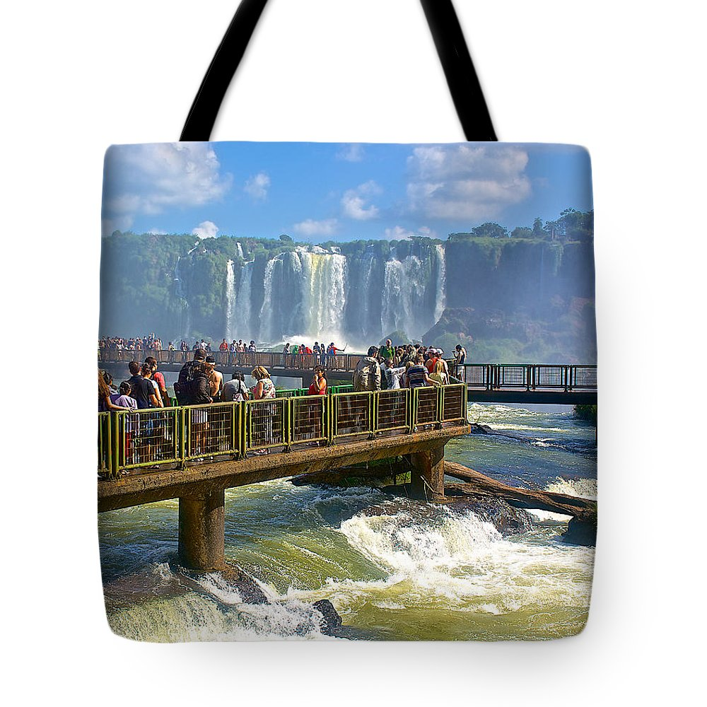 Wet Walkways In The Iguazu River In Iguazu Falls National Park Tote Bag featuring the photograph Wet Walkways In The Iguazu River In Iguazu Falls National Park-brazil by Ruth Hager