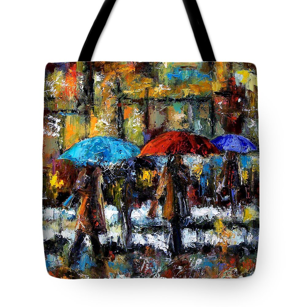 Rainy City Art Tote Bag featuring the painting Wet Winter Day by Debra Hurd