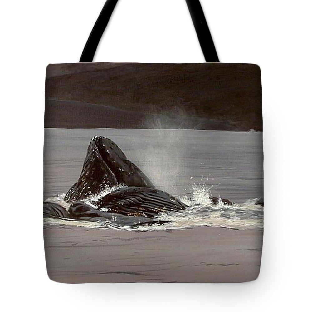 Whale Tote Bag featuring the painting Whales Feeding by Shawn Stallings
