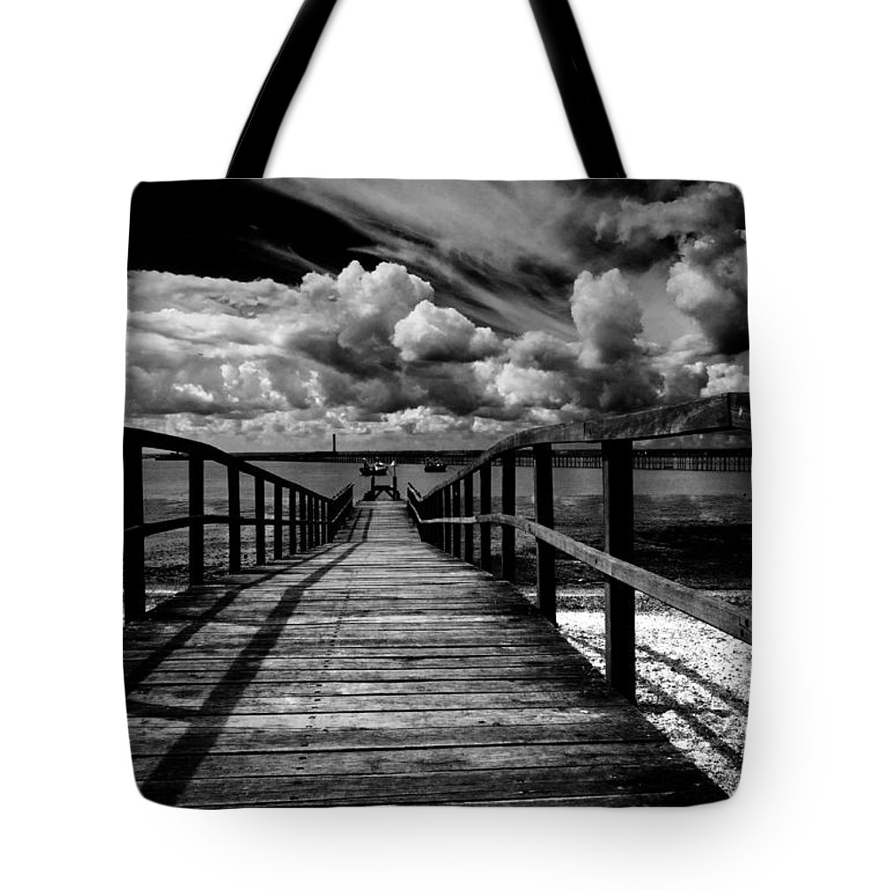 Southend On Sea Wharf Clouds Beach Sand Tote Bag featuring the photograph Wharf At Southend On Sea by Sheila Smart Fine Art Photography