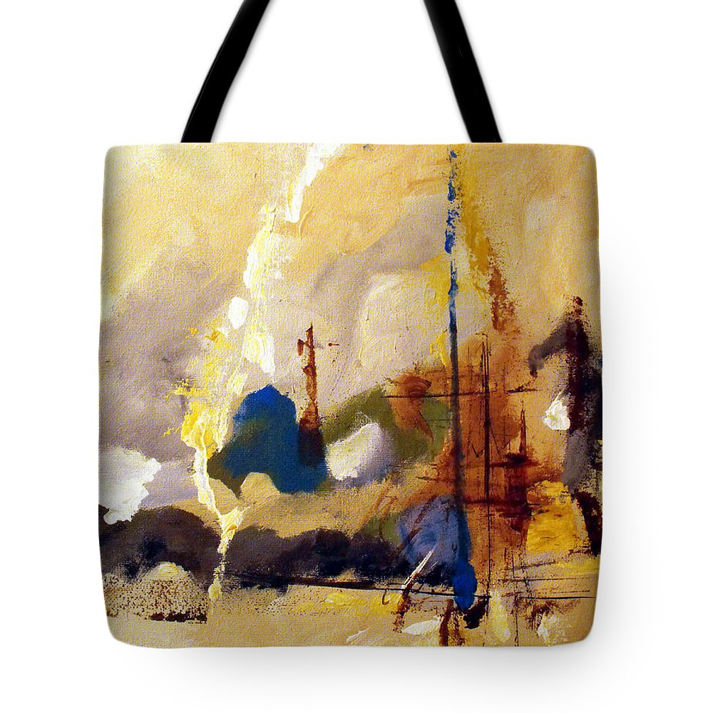 Abstract Tote Bag featuring the painting Wharf by Ruth Palmer