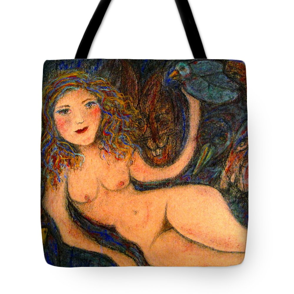 Nude Tote Bag featuring the mixed media What Are You Looking At-14 by Natalie Holland