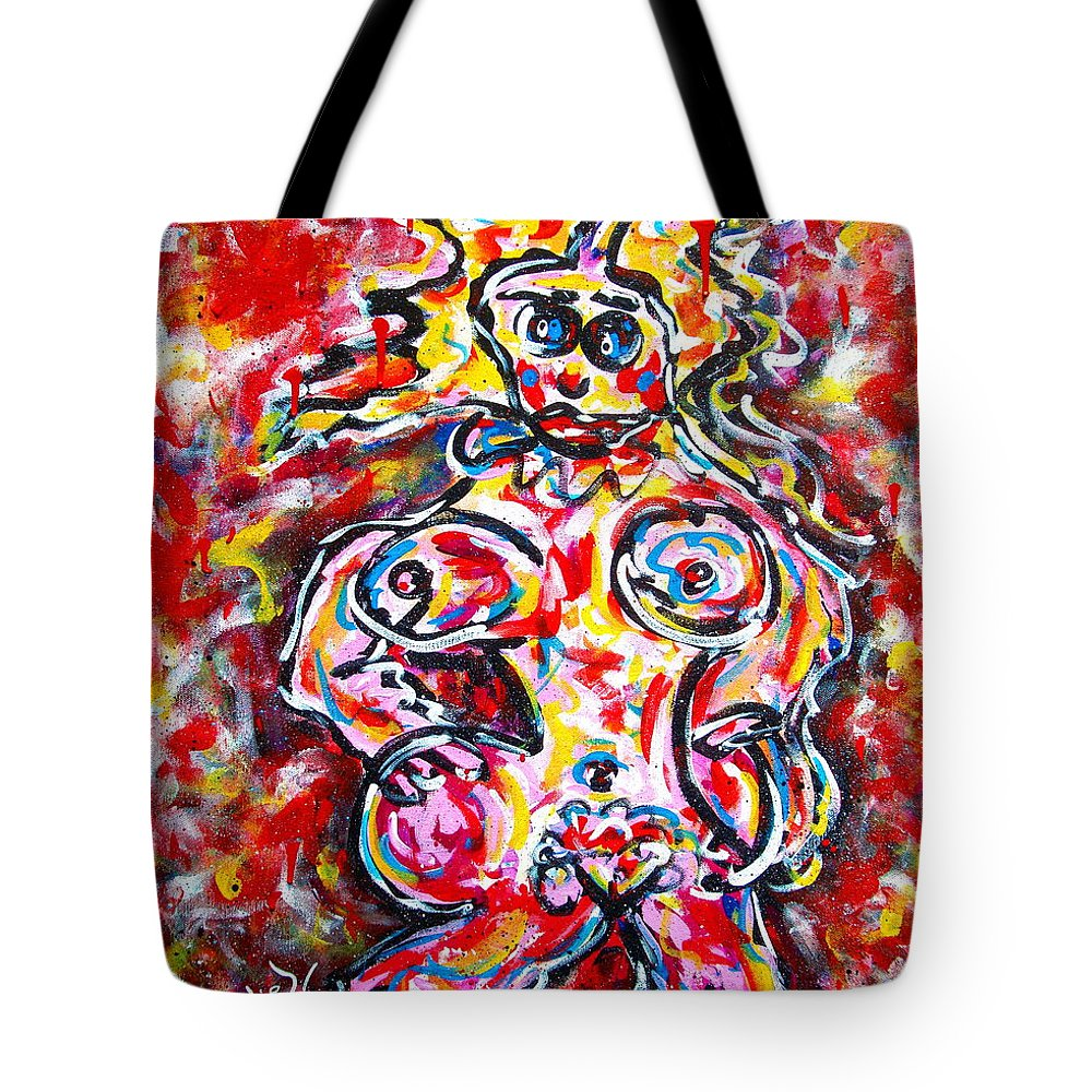 Abstracts Tote Bag featuring the painting What Are You Looking At by Natalie Holland