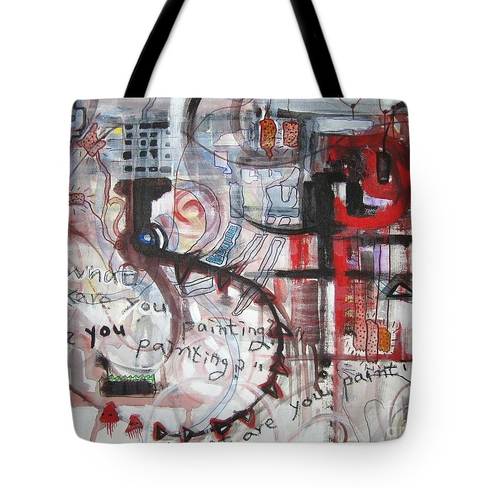Abstract Paintings Tote Bag featuring the painting What Are You Painting-red And Brown Painting by Seon-Jeong Kim