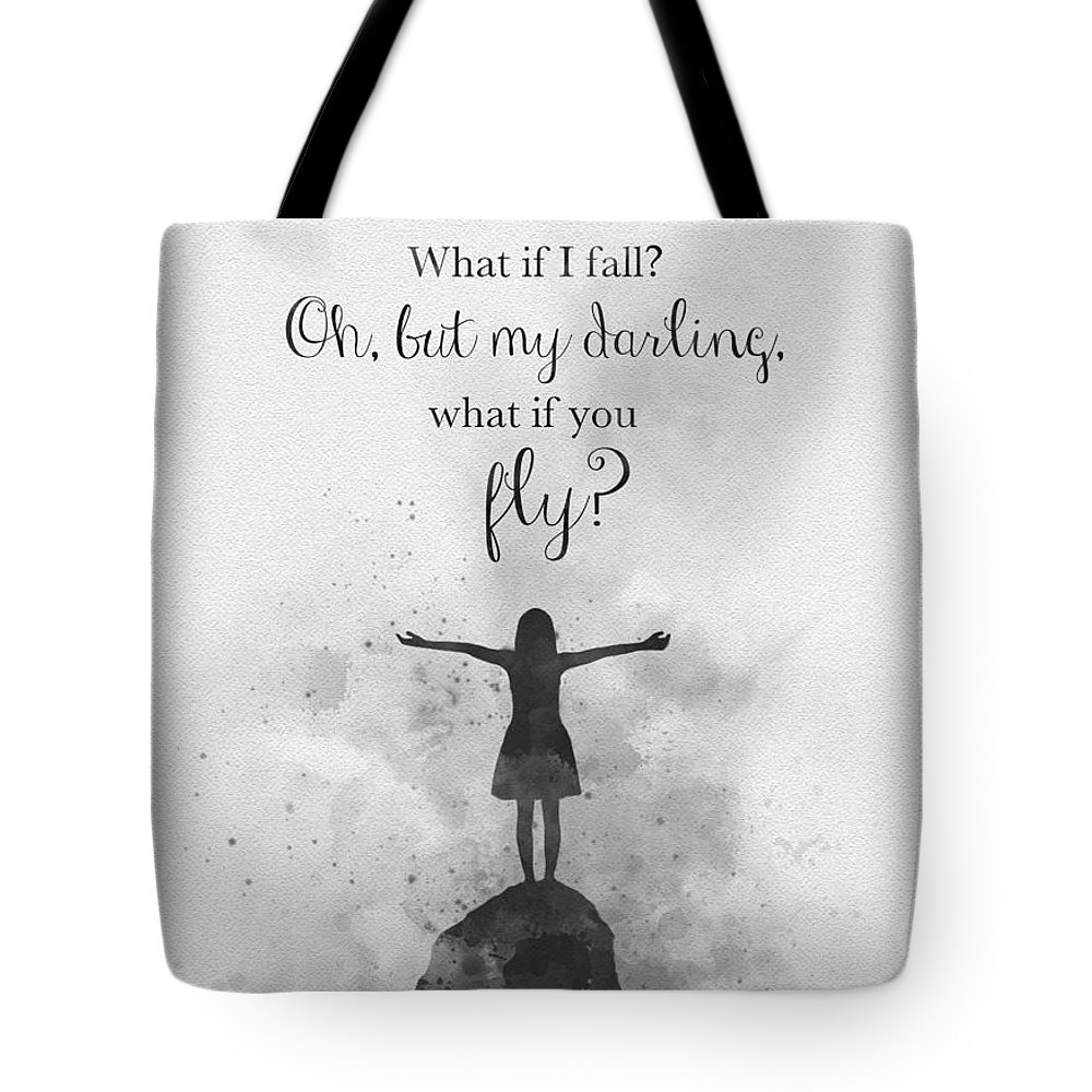What If I Fall Tote Bag featuring the mixed media what if i fall? Black and White by My Inspiration