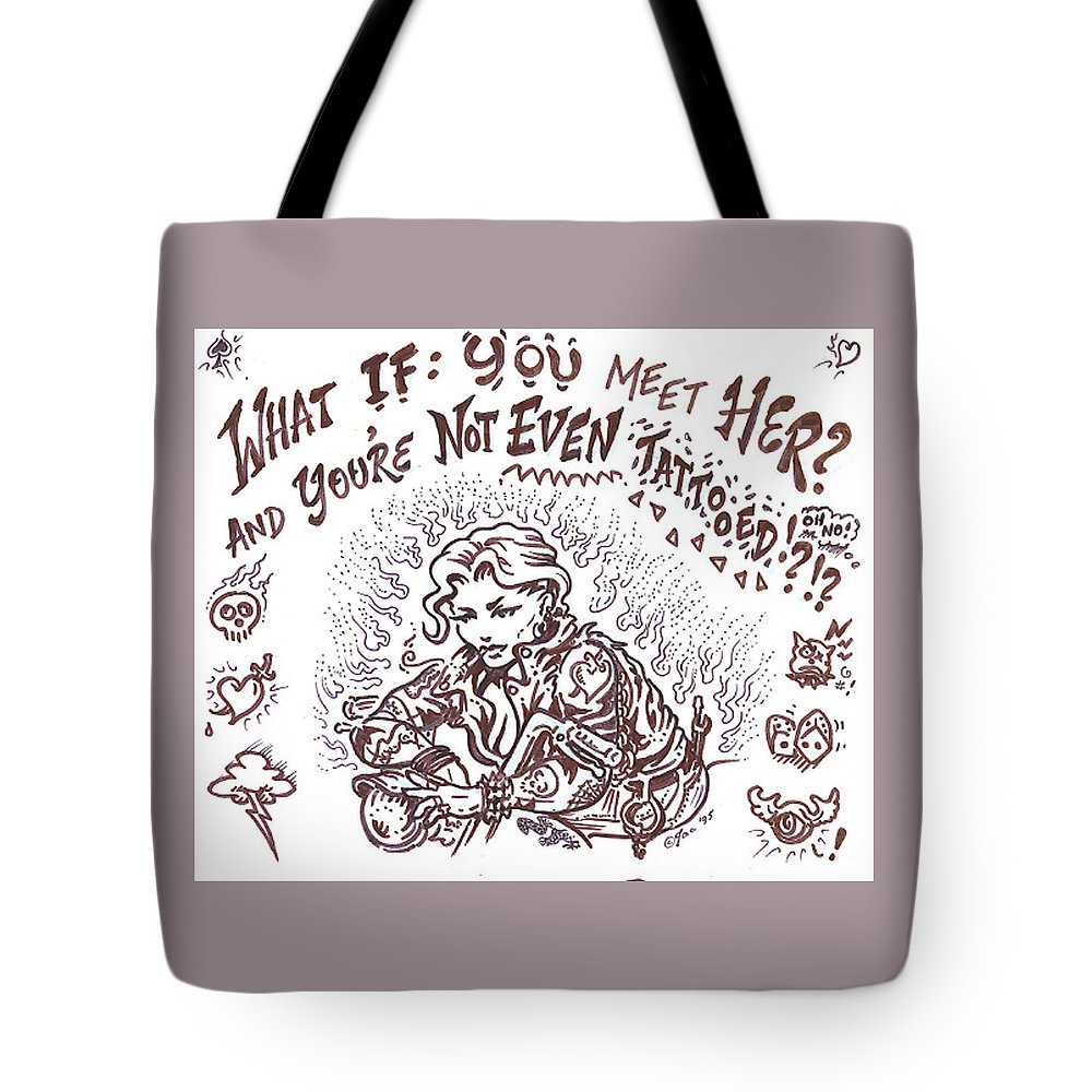 Cartoon Tote Bag featuring the drawing What If by Jacki Randall