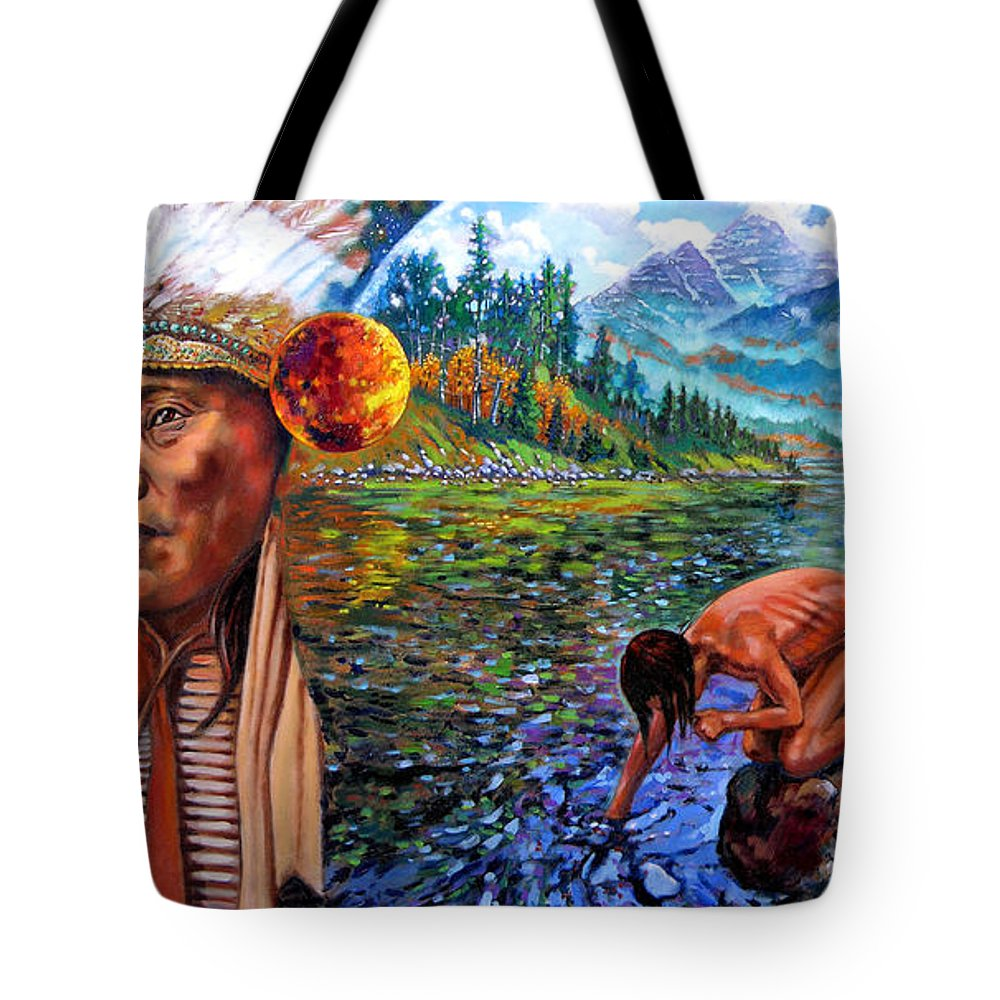 Indian Tote Bag featuring the painting What Is Life by John Lautermilch