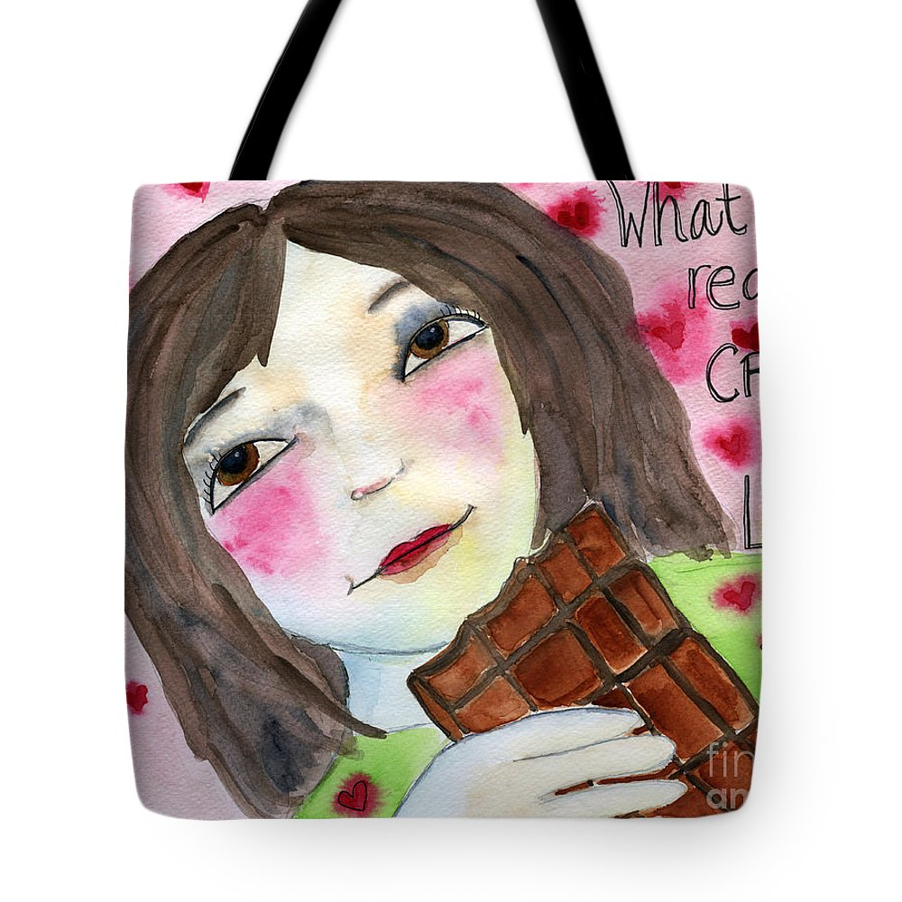 Woman Tote Bag featuring the painting What She Really Craves Is Love by AnaLisa Rutstein