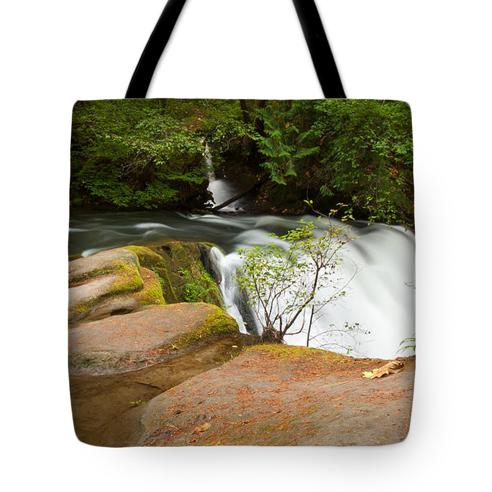 Waterfall Tote Bag featuring the photograph Whatcom Falls by Idaho Scenic Images Linda Lantzy