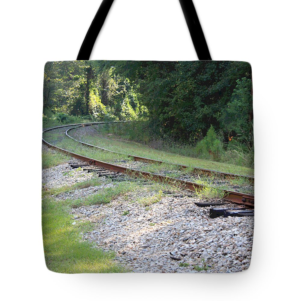 Railroad Tote Bag featuring the photograph Whats Around The Bend by Suzanne Gaff