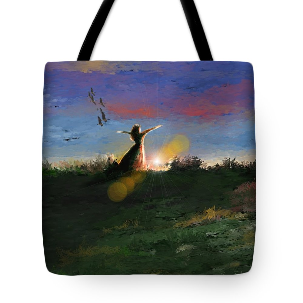 Morning Sunrise Star Woman Nature Sky Clouds Tote Bag featuring the mixed media What's The Story Morning Glory by Veronica Jackson