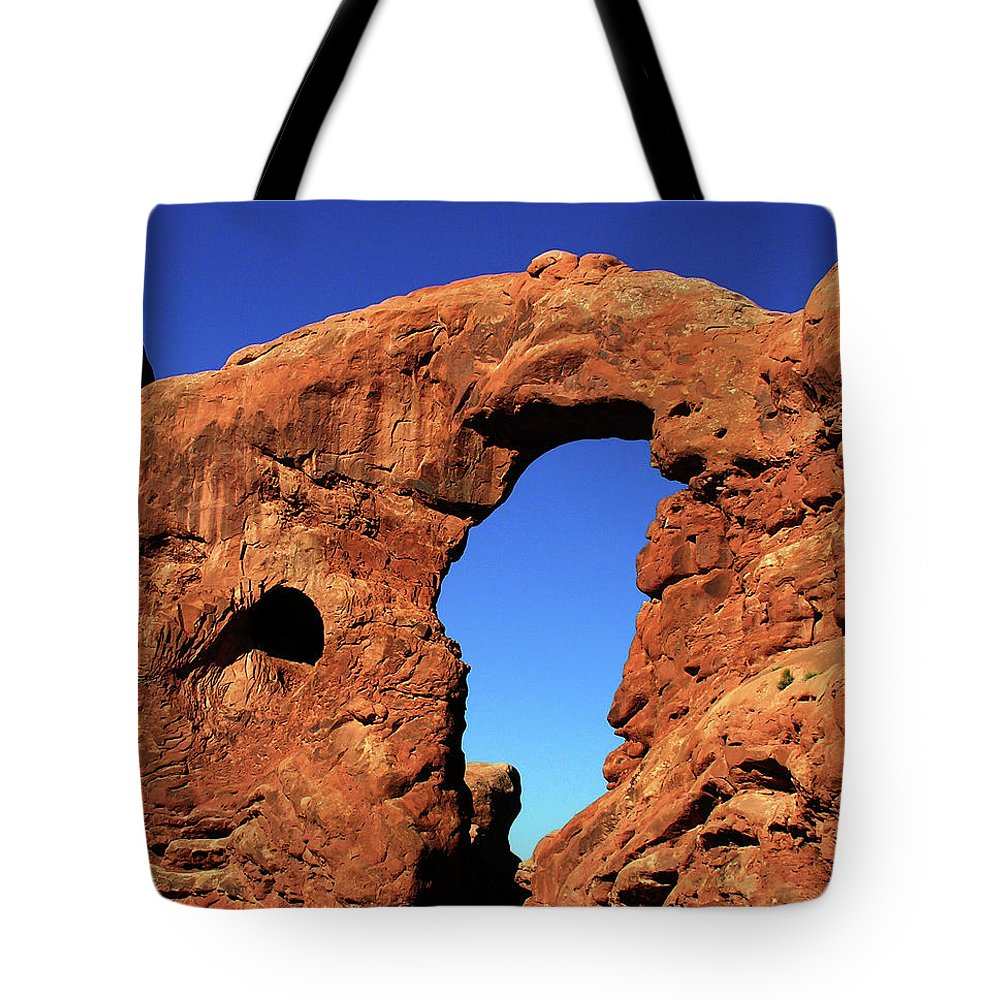 Arches Tote Bag featuring the photograph What's Through There by Adam Vance