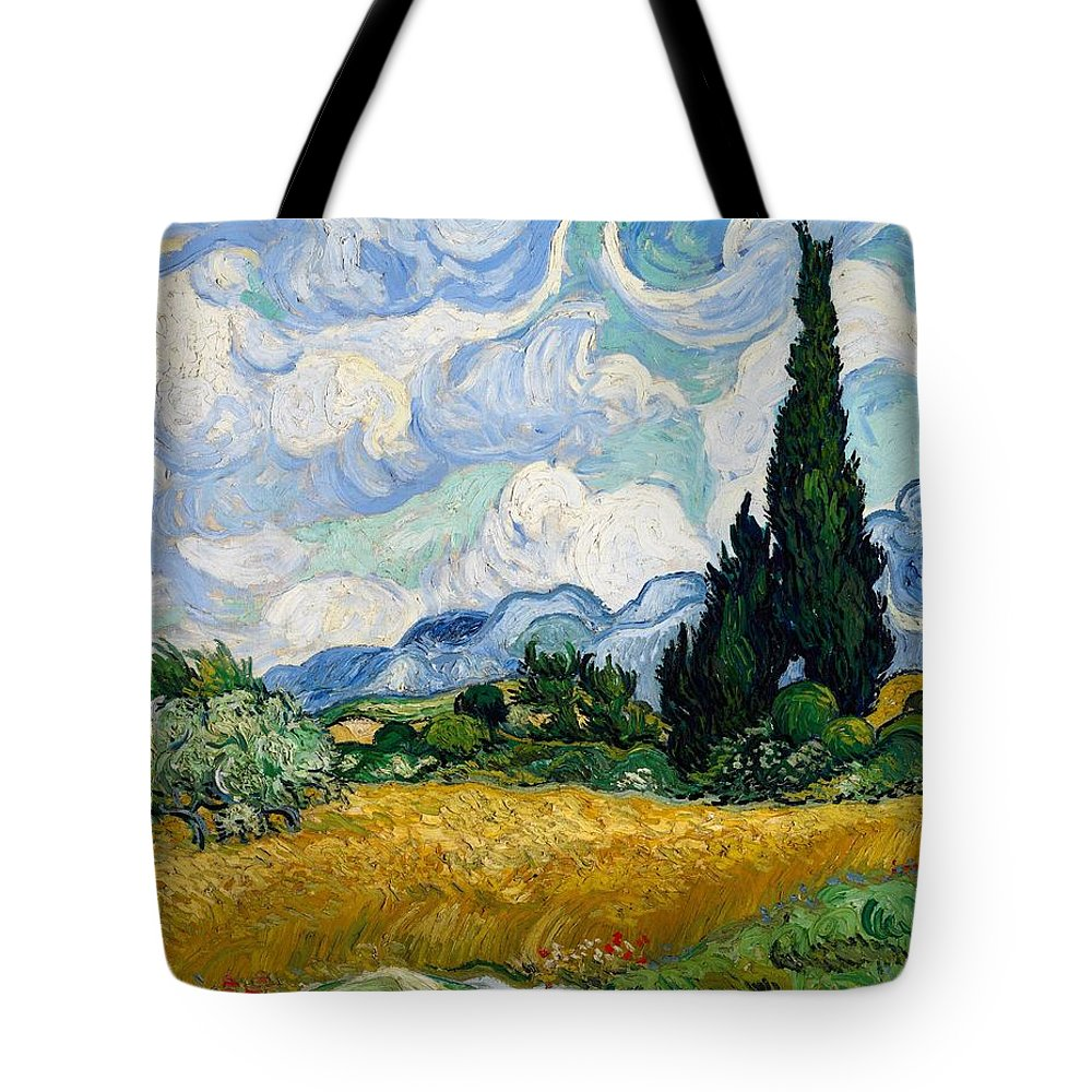 Vincent Van Gogh Tote Bag featuring the painting Wheatfield With Cypresses by Van Gogh