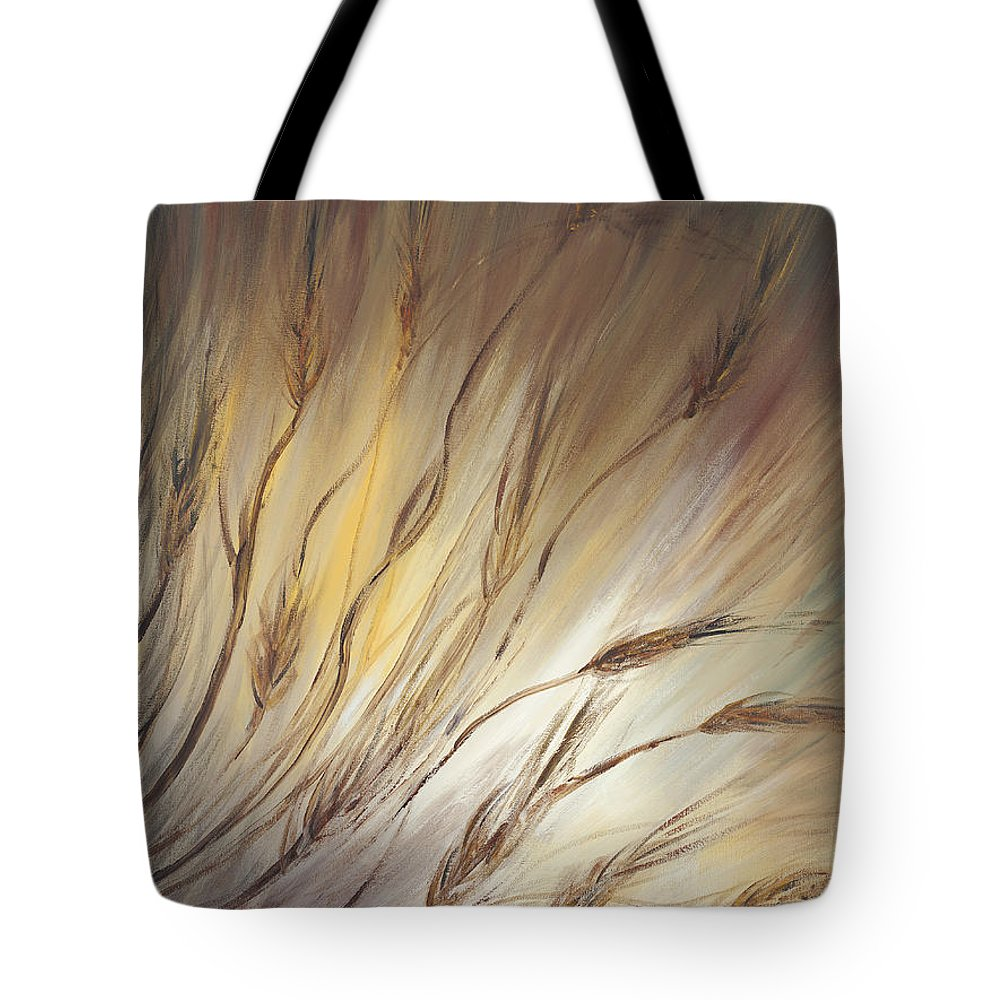 Wheat Tote Bag featuring the painting Wheat In The Wind by Nadine Rippelmeyer