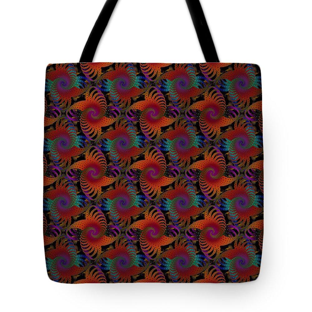 Fractal Tote Bag featuring the digital art Wheatsheaf Windmill Rust by Deborah Runham