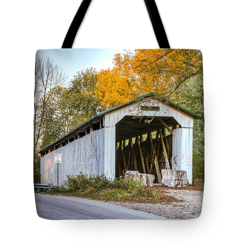 America Tote Bag featuring the photograph Wheeling Covered Bridge by Jack R Perry