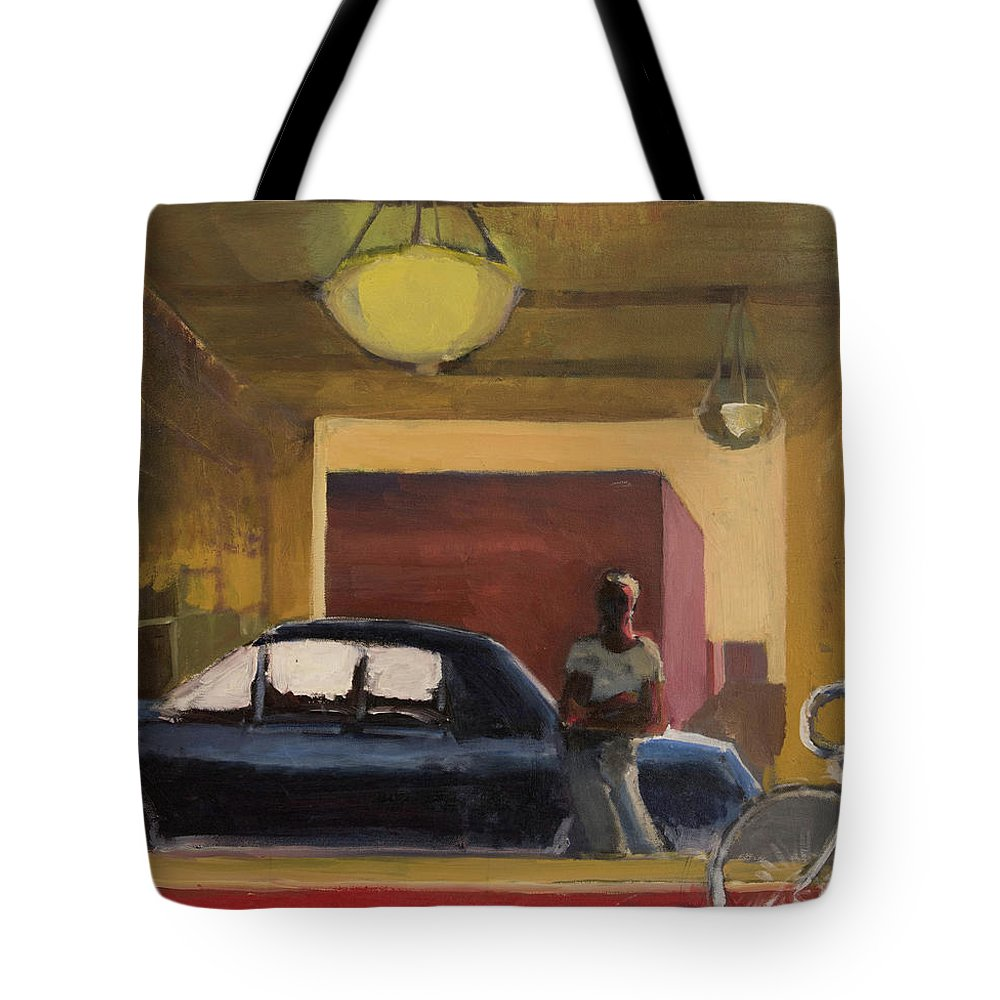 City Tote Bag featuring the painting Wheels In The City by Craig Newland