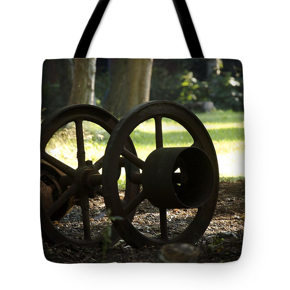 Wheel Tote Bag featuring the photograph Wheels Of War-spanish American War Artifacts by Faith Harron Boudreau