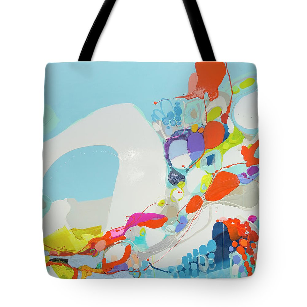 Abstract Tote Bag featuring the painting When Alexa Moved In by Claire Desjardins