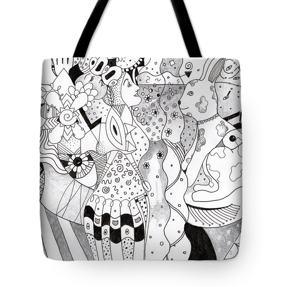 Fantasy Tote Bag featuring the drawing When Anything Is Possible Aka Imagine 1 by Helena Tiainen