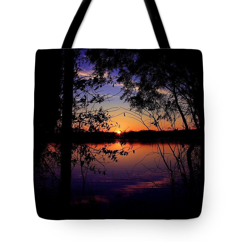 Nature Sunset Lake Darkness Shadows Sun Sky Reflection Tote Bag featuring the photograph When Darkness Comes by Mitch Cat