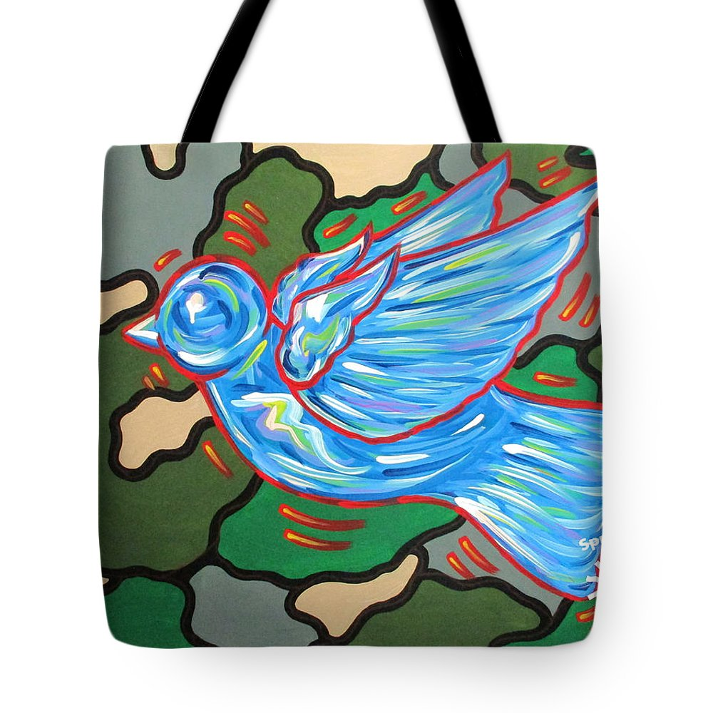 Abstract Tote Bag featuring the painting When Doves Cry by Parker Beaudoin
