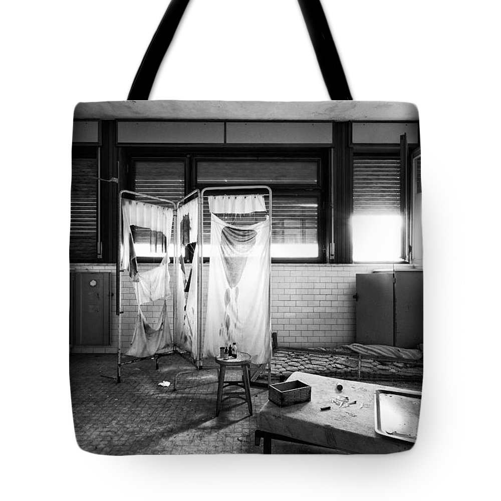 Abandoned Tote Bag featuring the photograph When First Aid Comes To Late - Urban Decay by Dirk Ercken