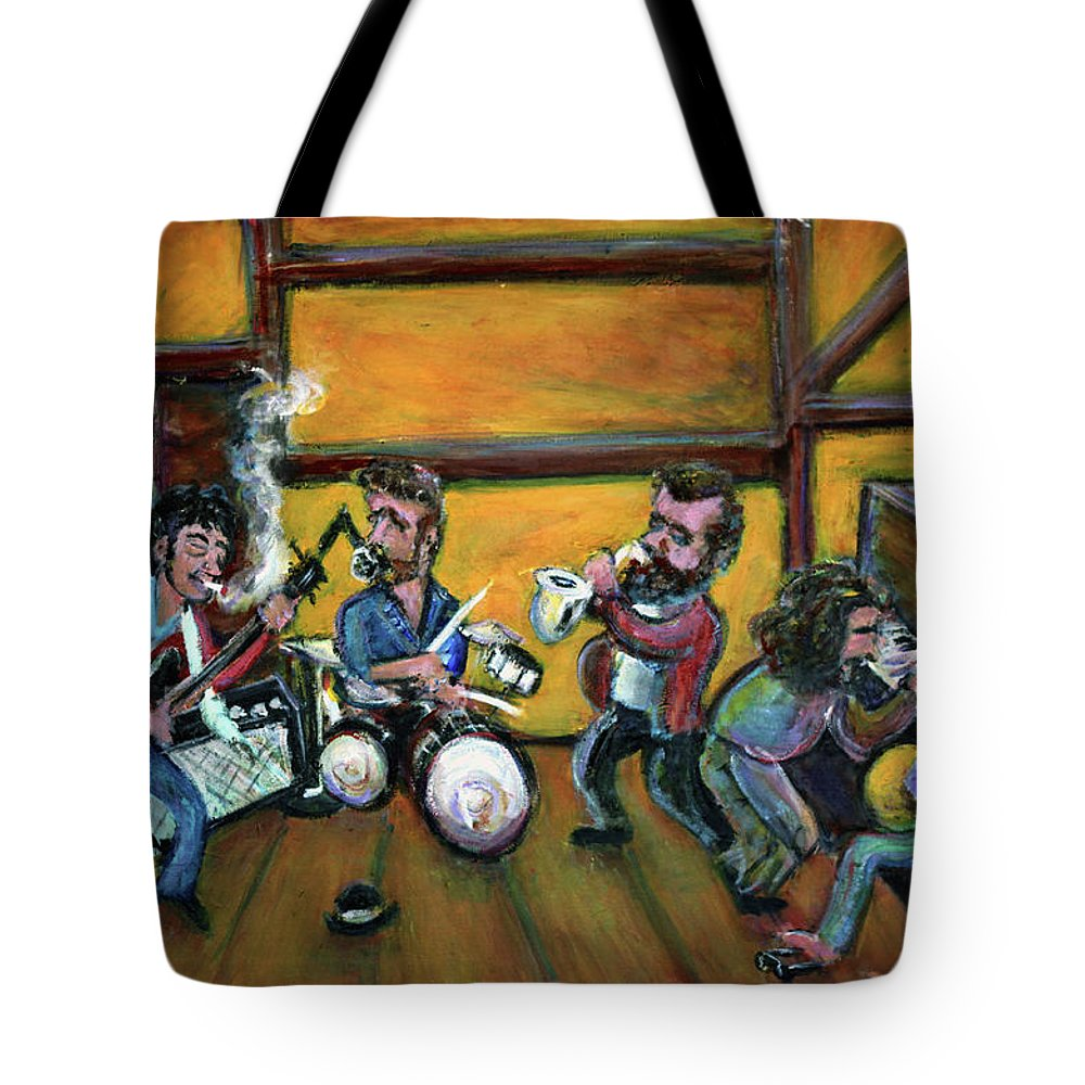 The Band Tote Bag featuring the painting When I Paint My Masterpiece by Jason Gluskin