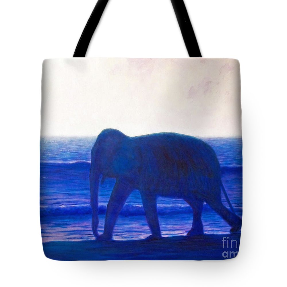 Elephant Tote Bag featuring the painting When I Was Young by Brian Commerford