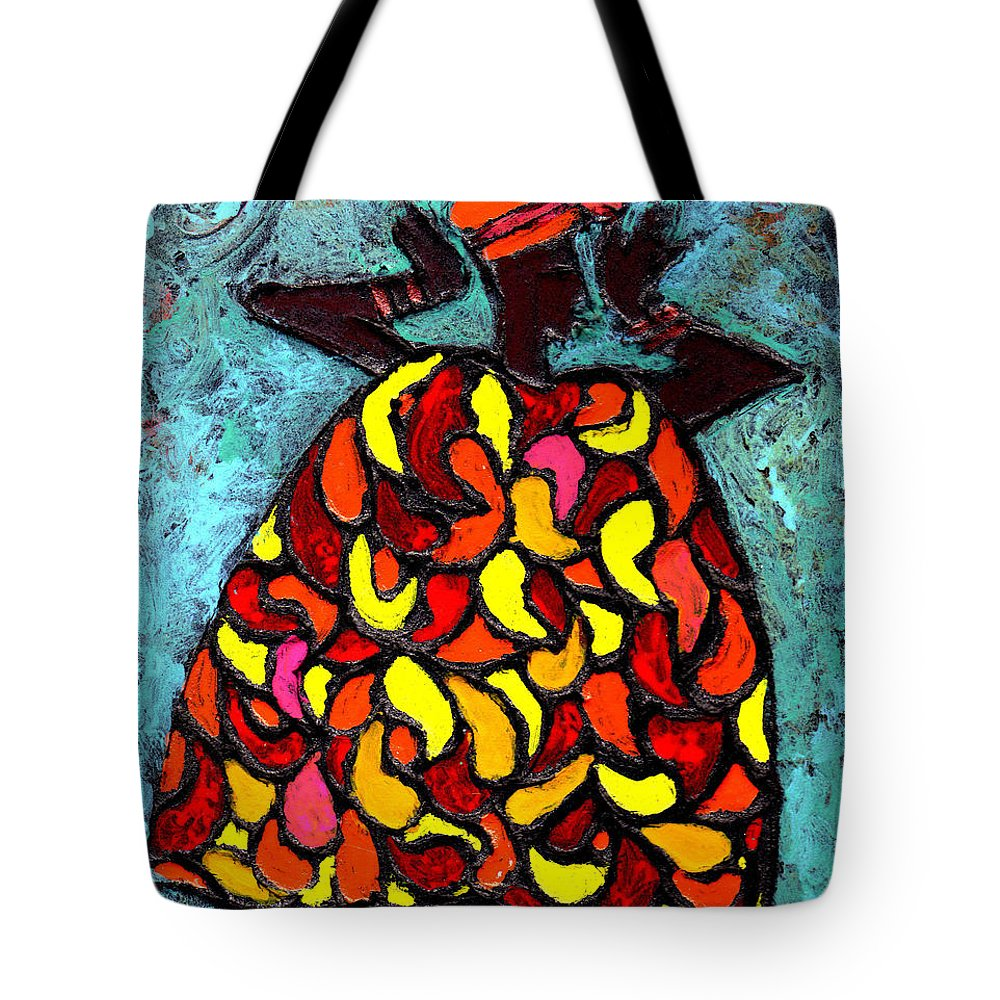 Black Art Tote Bag featuring the painting When Moma's Happy by Wayne Potrafka