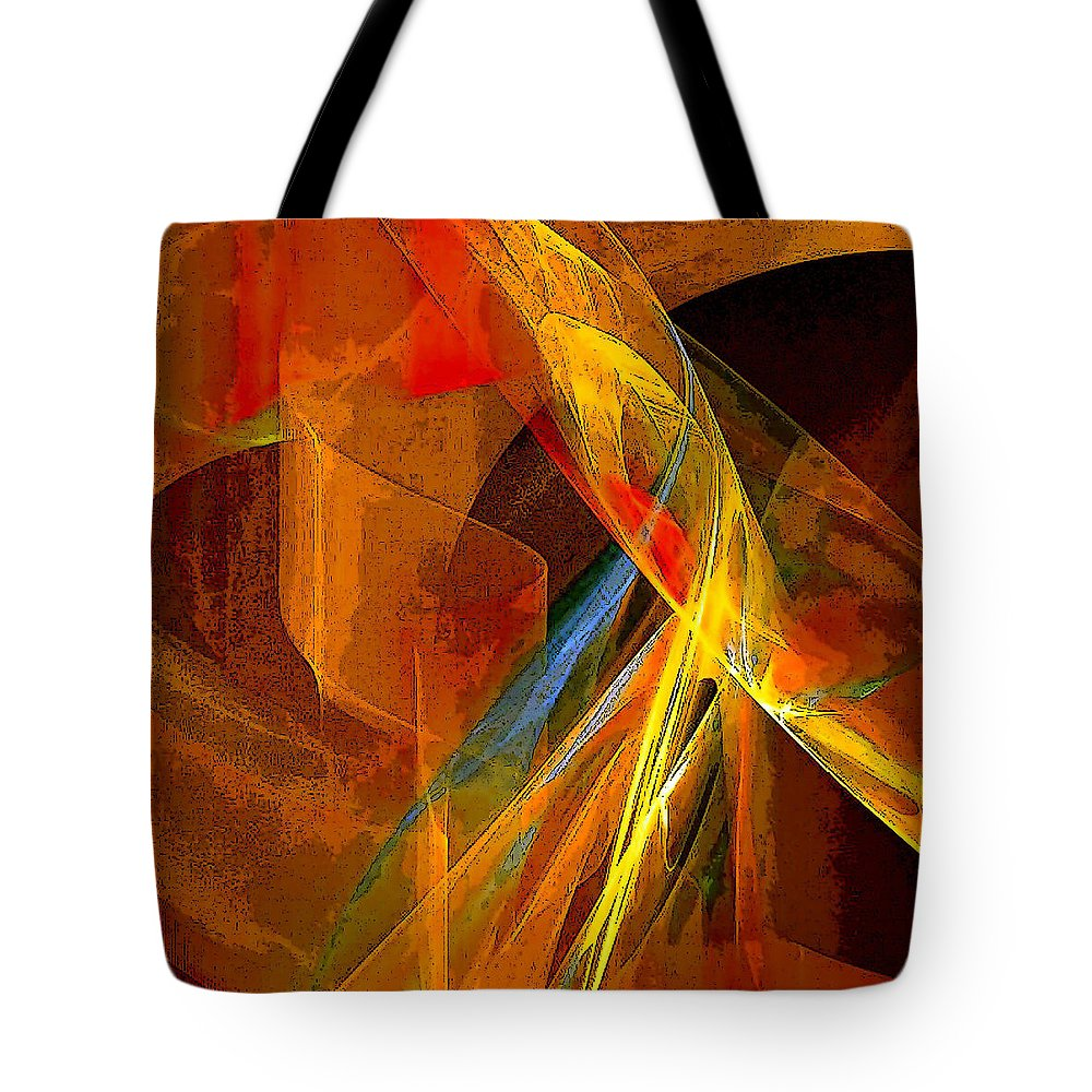 Abstract Tote Bag featuring the digital art When Paths Cross by Ruth Palmer