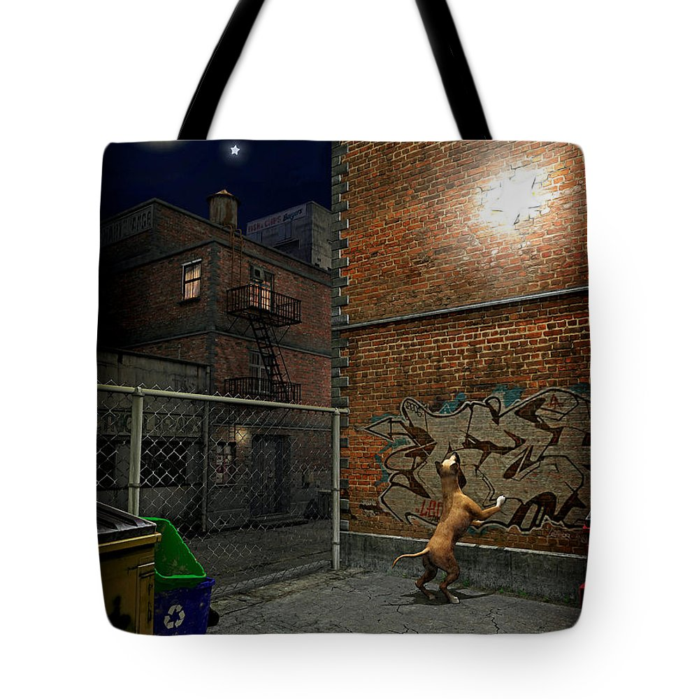 City Tote Bag featuring the digital art When Stars Fall In The City by Cynthia Decker