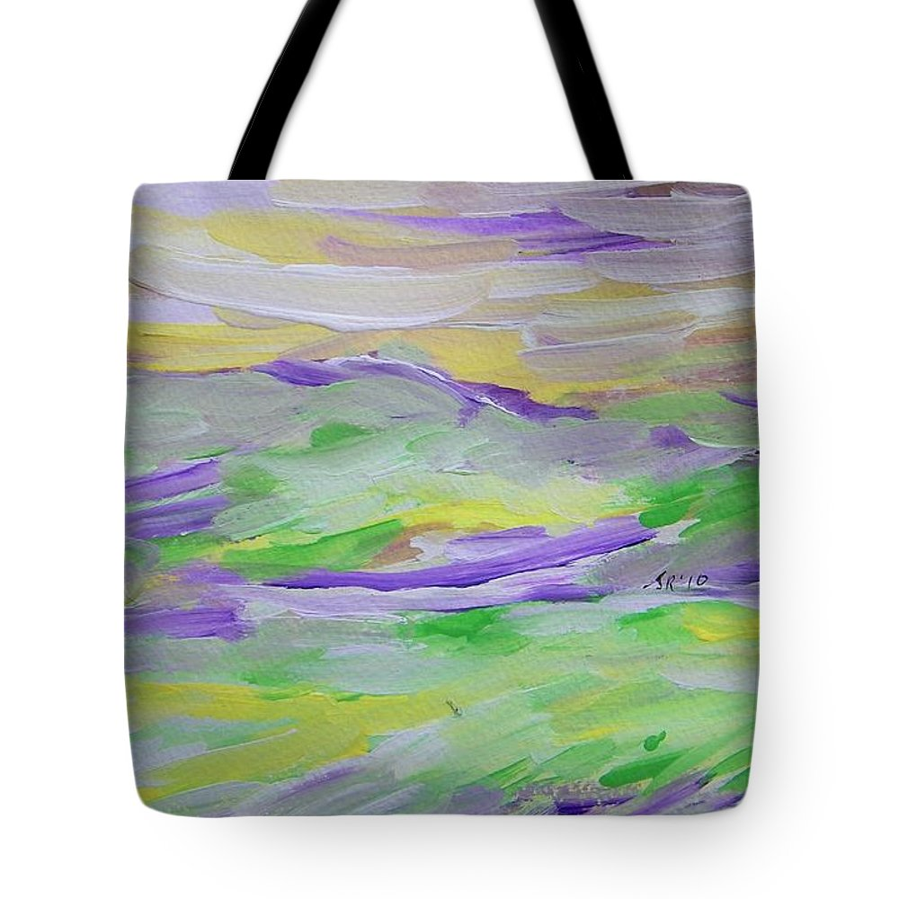 Abstract Tote Bag featuring the painting When The Sky Is Yellow The Purple Emerges by Judith Redman