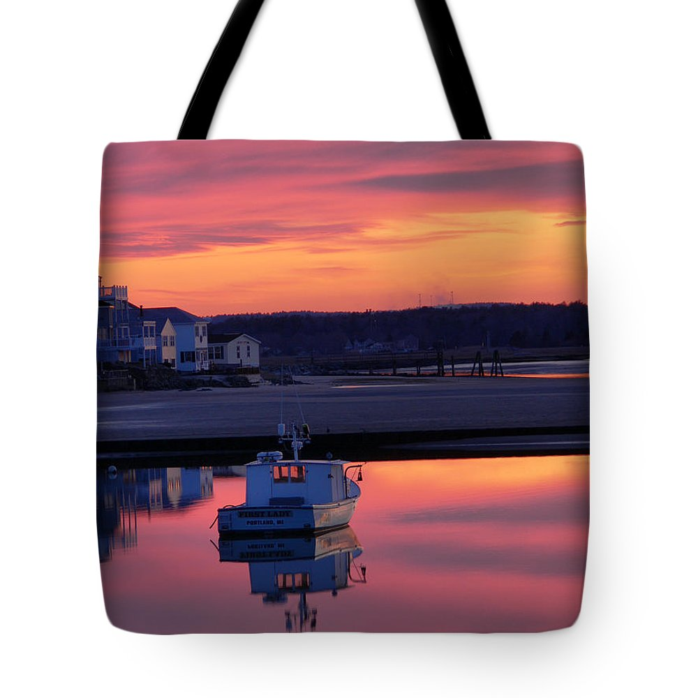 Spring Tote Bag featuring the photograph When The Sun Goes Down by Nancie DeMellia
