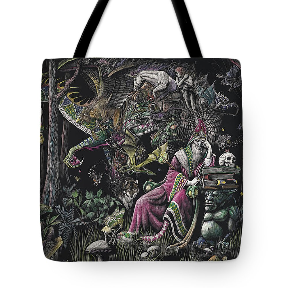 Dragon Tote Bag featuring the drawing When Wizards Dream by Stanley Morrison