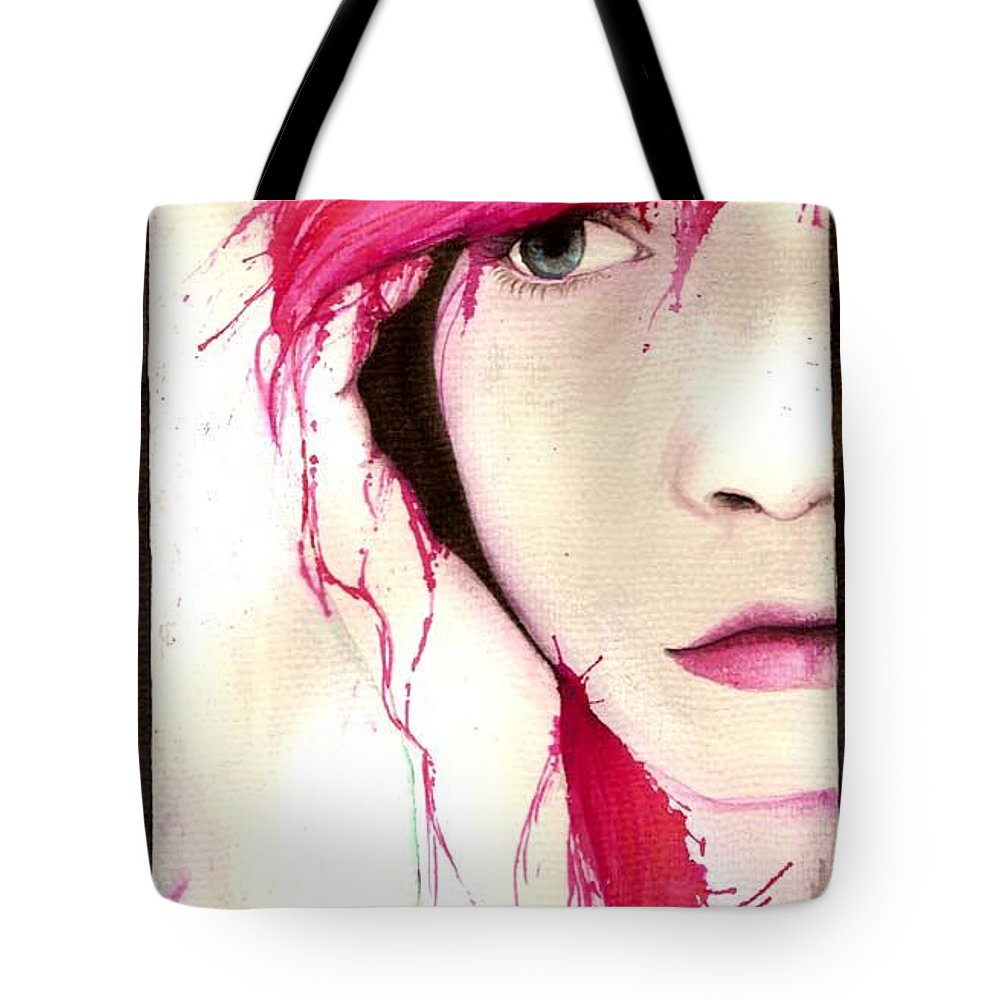 Pink Girl Tote Bag featuring the drawing Where Do You Think Beauty Goes by Freja Friborg