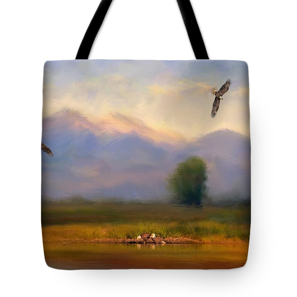 Usa Tote Bag featuring the photograph Where Eagles Play by Jai Johnson