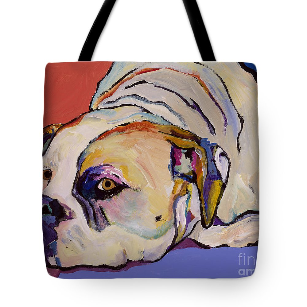 American Bulldog Tote Bag featuring the painting Where Is My Dinner by Pat Saunders-White