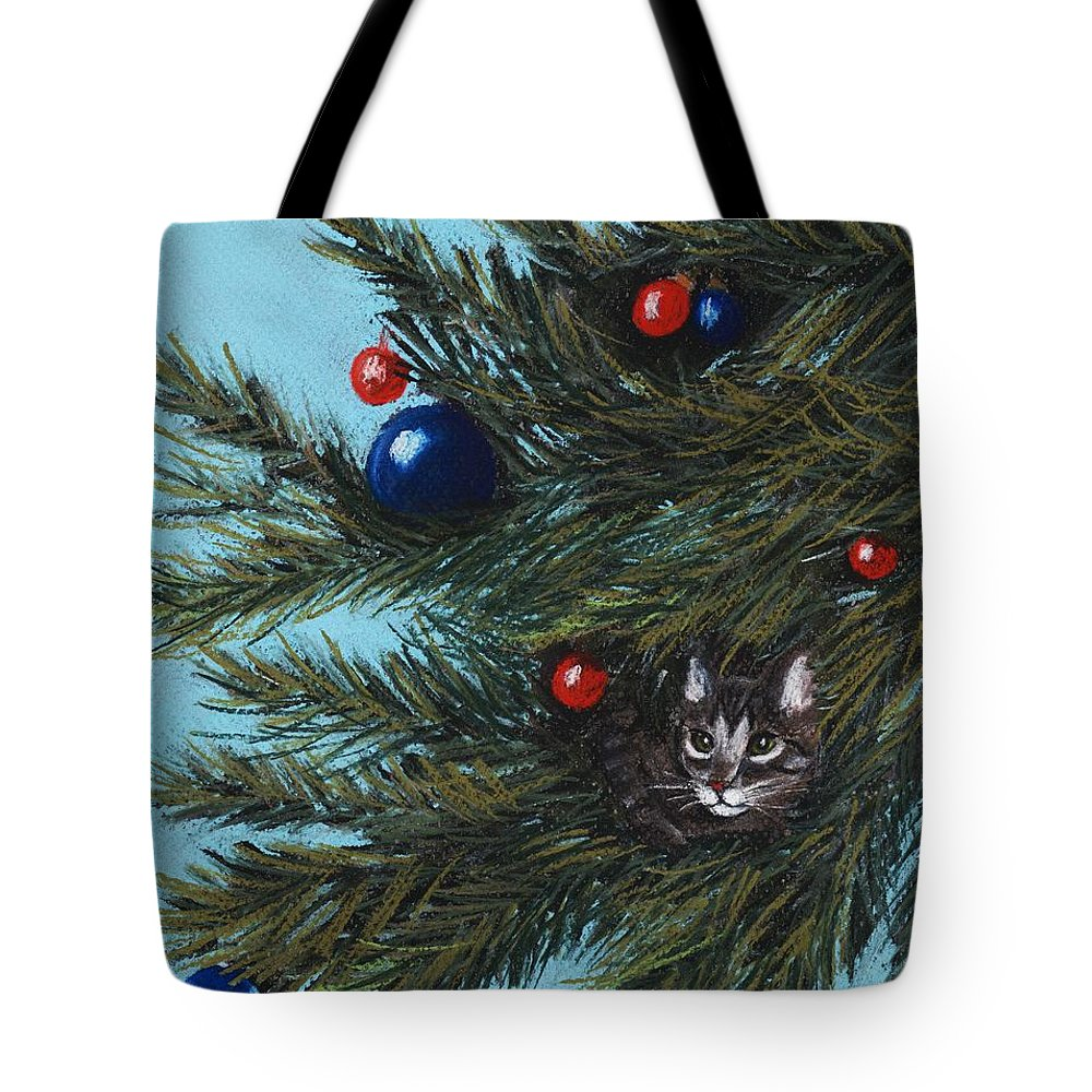 Cat Tote Bag featuring the painting Where Is Santa by Anastasiya Malakhova