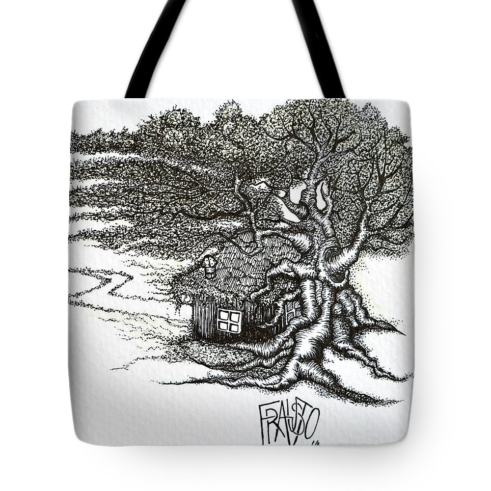 Pen And Ink Tote Bag featuring the drawing Where My Soul Dreams by Rick Frausto