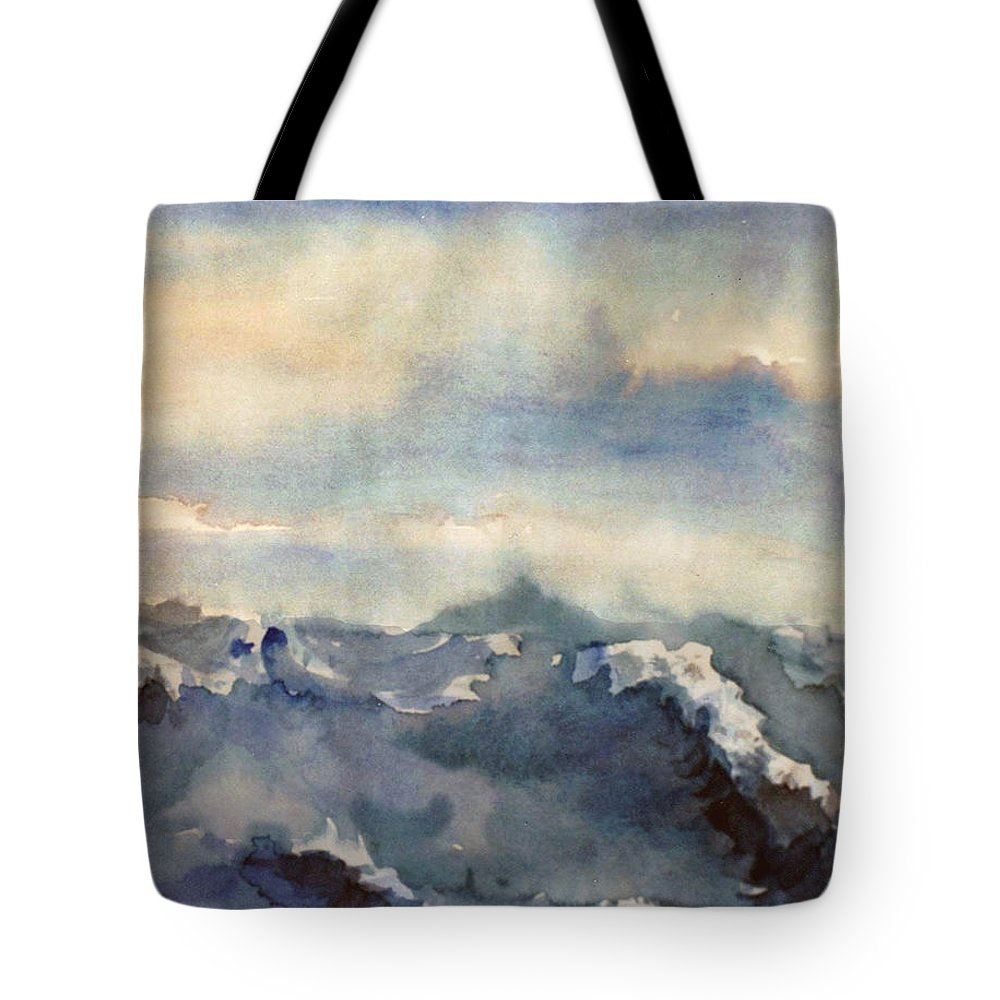 Seascape Tote Bag featuring the painting Where Sky Meets Ocean by Steve Karol