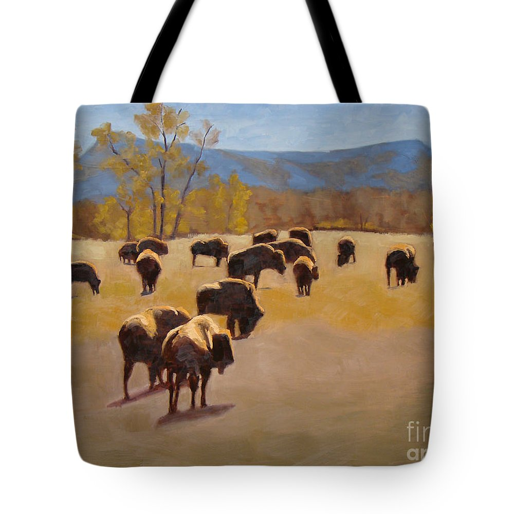 Buffalo Tote Bag featuring the painting Where the buffalo roam by Tate Hamilton